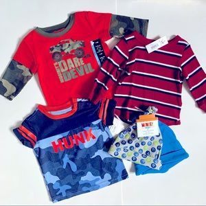 Size 3-6 Month Lot of 3 Tshirts and 2 Hats